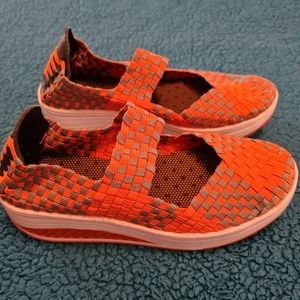 Woven Wedges Shoes 36 Orange Ladies Shoes